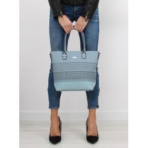 Modrá dámska vzorovaná kabelka do ruky na každý deň