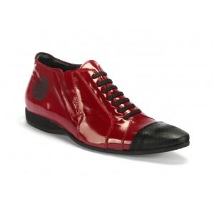 Červené pánske športové kožené topánky COMODO E SANO s čiernými šnúrkami