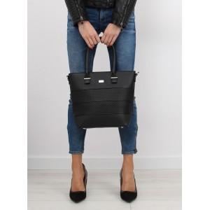 Elegantná dámska kabelka do ruky čiernej farby s dierkovaným vzorom
