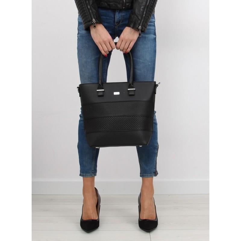 2ec2d121ab Predchádzajúci. Elegantná dámska kabelka do ruky čiernej farby s dierkovaným  vzorom ...