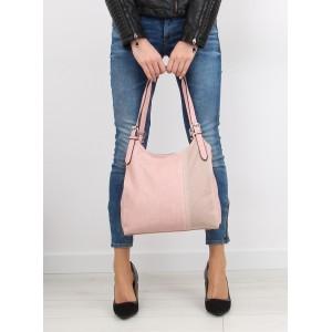 Dámska každodenná kabelka do ruky v ružovej farbe s čiarkovaným vzorom
