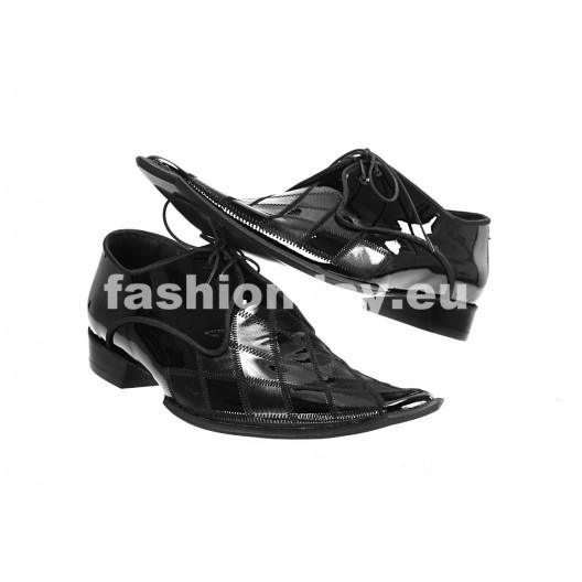 Pánske kožené extravagantné topánky čierne ID: 568
