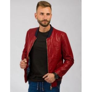 Červená pánska prechodná kožená bunda s čiernymi detailami