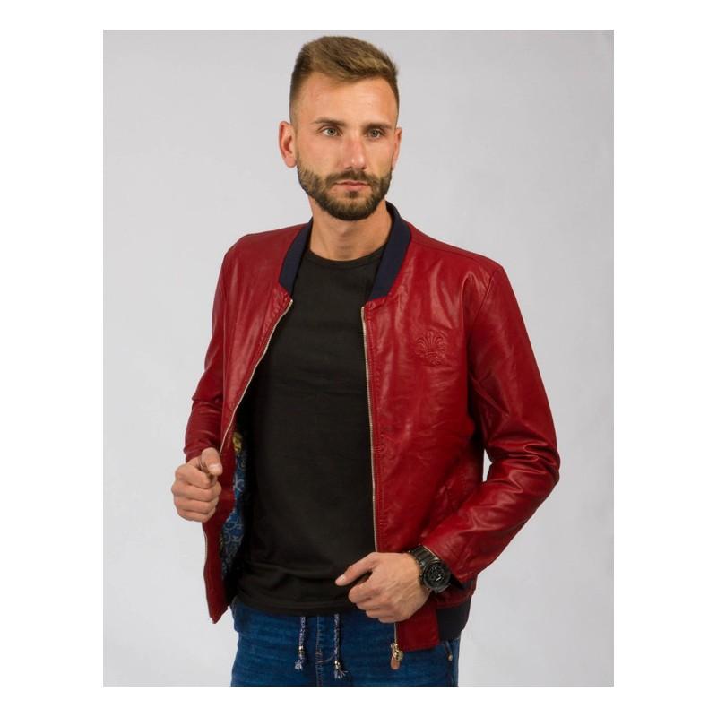 88cd33222 Červená pánska prechodná kožená bunda s čiernymi detailami ...