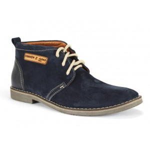 Členkové pánske kožené topánky COMODO E SANO v modrej farbe