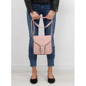 Dámska kabelka crossbody s jednoduchým dizajnom v púdrovej farbe