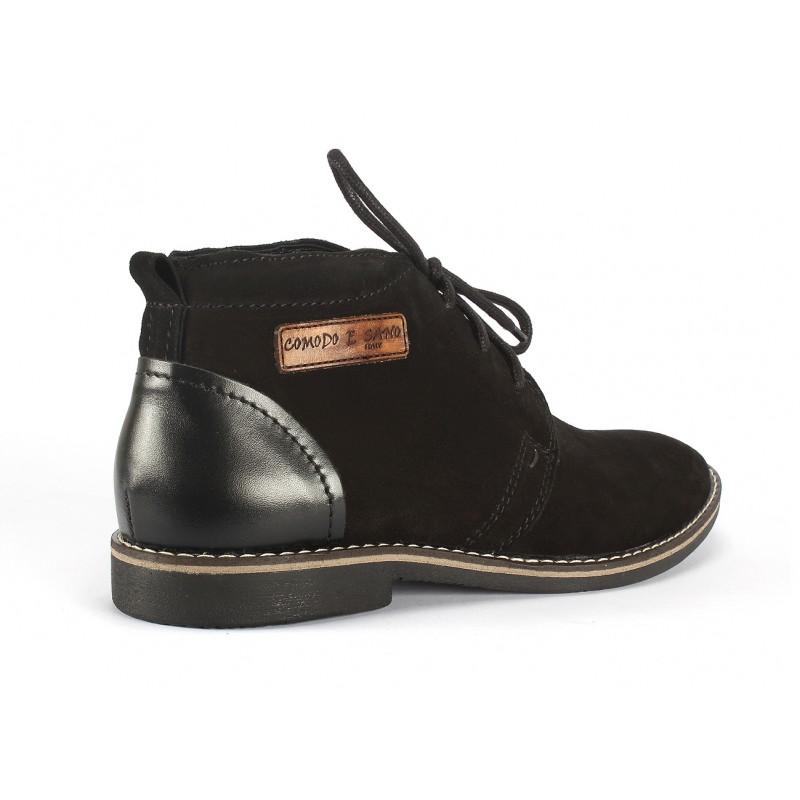 94a59f0bc29a Čierne pánske kožené topánky s nášivkou COMODO E SANO - fashionday.eu