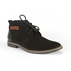 Čierne pánske kožené topánky s nášivkou COMODO E SANO
