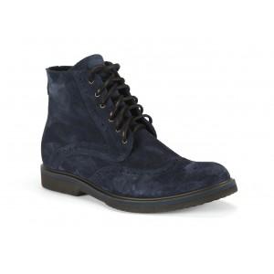 Pánske zimné kožené topánky COMODO E SANO so šnúrkami v modrej farbe