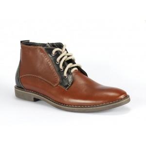 Hnedo modré kotníkové pánske kožené topánky COMODO E SANO