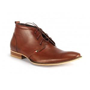 Hnedé pánske kožené topánky na šnúrovanie COMODO E SANO