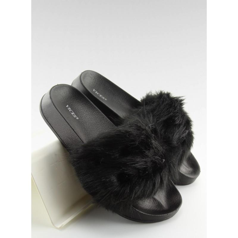 9afaf97997c57 Čierne dámske šľapky s kožušinou - fashionday.eu