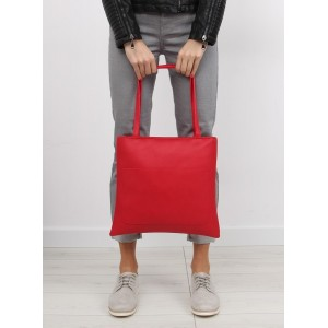 Klasická dámska shopper kabelka červenej farby s kozmetickou taškou