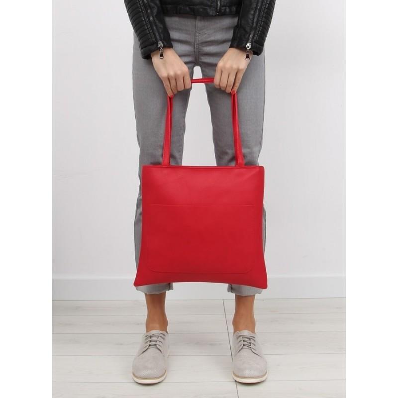 1ad455bce8 Klasická dámska shopper kabelka červenej farby s kozmetickou taškou ...