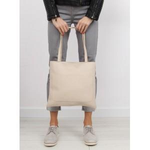 Jednoduchá béžová shopper kabelka pre ženy s vonkajším vreckom bez zapínania