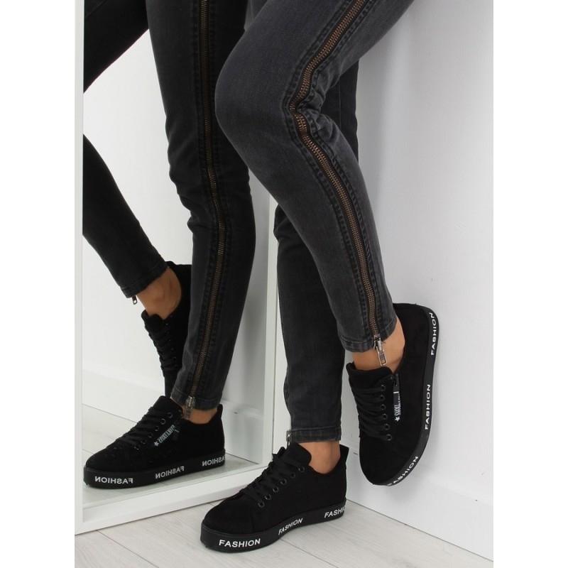04d88f97f0 Čierna dámska športová obuv so zipsom a šnúrkami - fashionday.eu