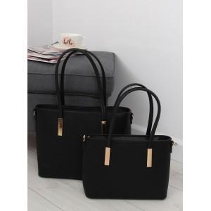 Set dámskej malej a veľkej kabelky do ruky v čiernej farbe so zlatou aplikaciou