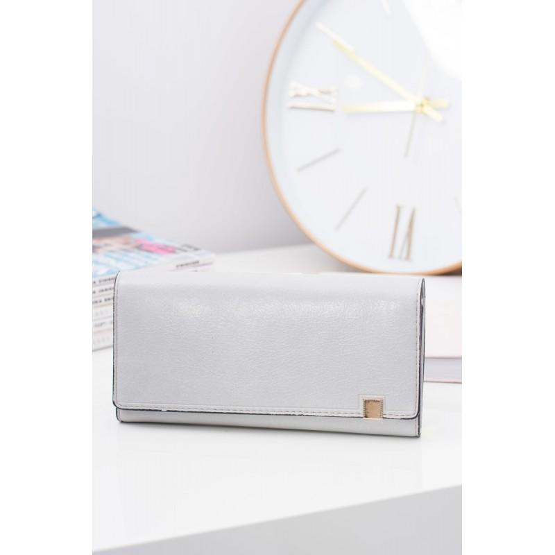 8c662c92149f Veľká dámska peňaženka sivej farby so zlatým bočným zipsom ...