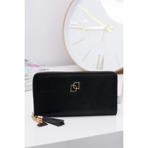 Elegantná dámska peňaženka čiernej farby so zlatým zipsom