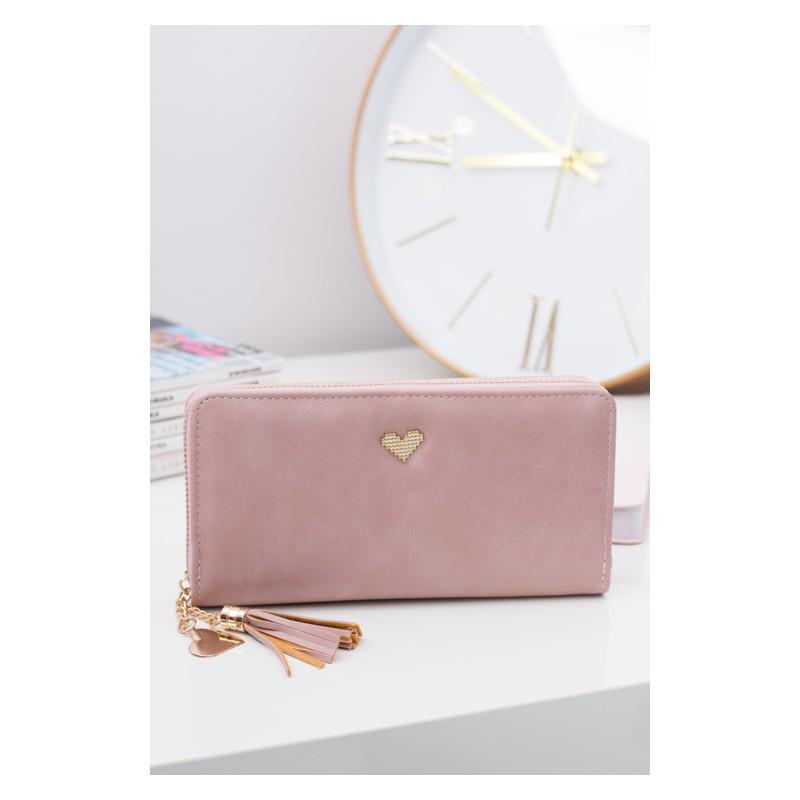 3320baae06 Pekná ružová dámska peňaženka ozdobená srdiečkom - fashionday.eu