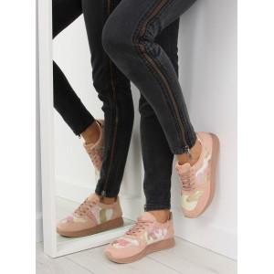 Vzorované dámske športové topánky ružovej farby na hrubej podražke