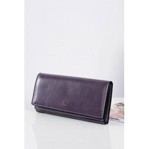 Kožená fialová dámska peňaženka s ozdobou