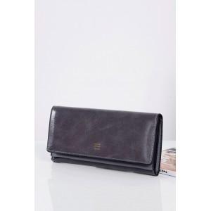 Tmavo sivé dámske peňaženky s vnútorným zlatým zipsom
