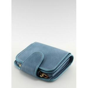 Malé dámske peňaženky do vrecka v modrej farbe s chlopňou