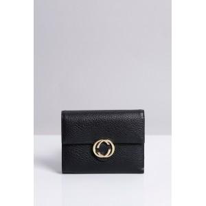 Čierne dámske peňaženky do vrecka so zlatou sponou