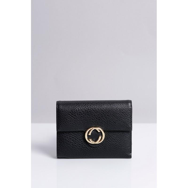 Čierne dámske peňaženky do vrecka so zlatou sponou - fashionday.eu f05b1e6f563