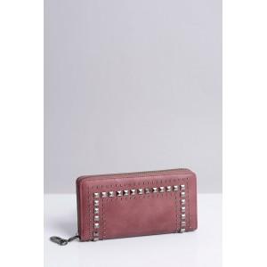 Moderná vybíjaná dámska peňaženka fialovej farby so zipsom