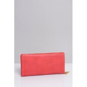 Červené dámske peňaženky so zapínaním na zlatý zips