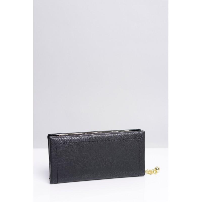 345854201 Jednoduché dámske peňaženky v čiernej farbe so zlatou aplikáciou ...