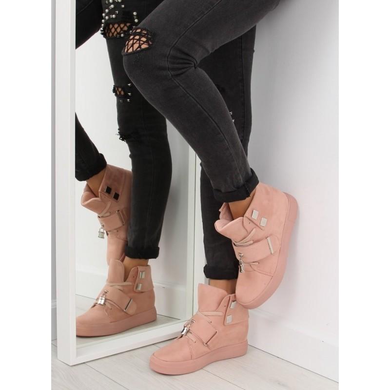 3f51f30db2ae Predchádzajúci. Ružové dámske členkové topánky so šnúrkami a hrubou  podrážkou ...