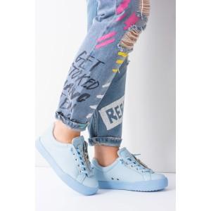 Modrá dámska športová obuv so šnúrkami a hrubou podrážkou