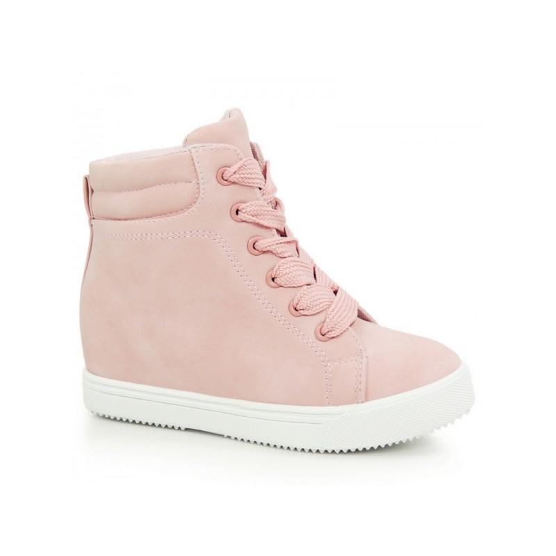 67136dc9dcf2 Dámske členkové topánky ružovej farby na skrytom podpätku s bielou ...