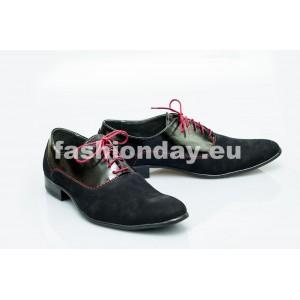 Pánske kožené topánky čierne PT1150