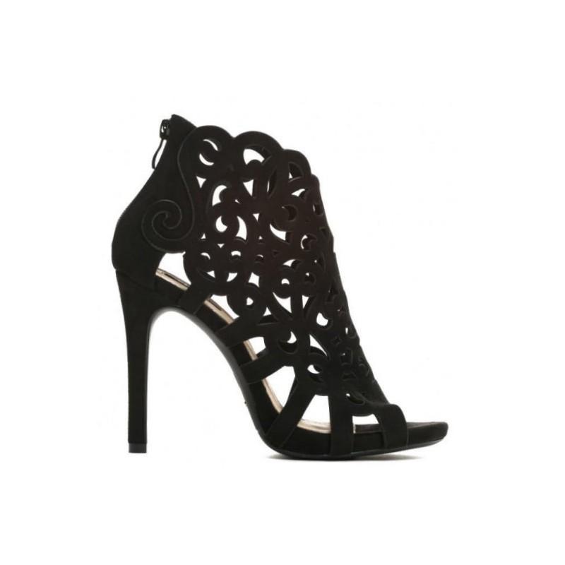 0a21e2dfe86c6 Elegantné čierne dámske sandále na podpätku s otvorenou špičkou ...