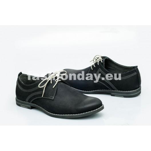 Pánske kožené topánky čierne PT1205