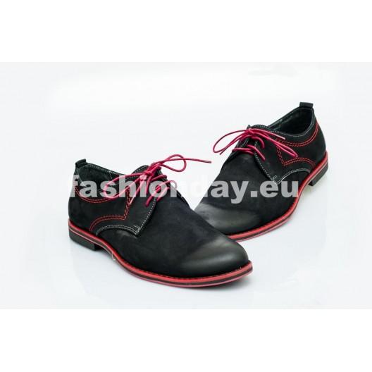 Pánske kožené topánky čierne PT1205B
