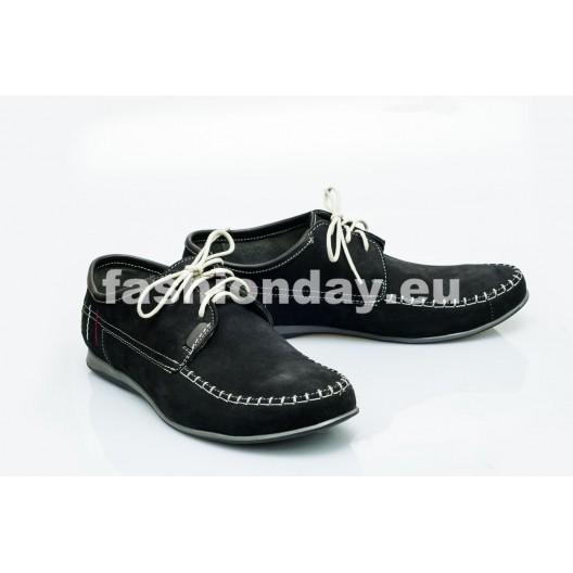 Pánske kožené topánky čierne PT1400