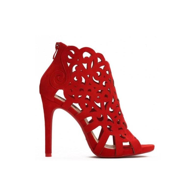 9ecbe09e0b19 Dámske spoločenské sandále na podpätku v červenej farbe - fashionday.eu