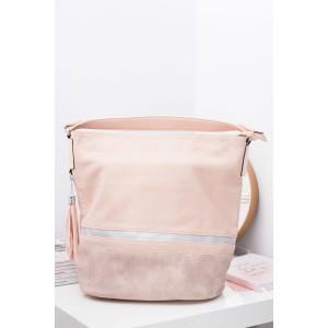 Veľká svetlo ružová dámska shopper kabelka so strapcami
