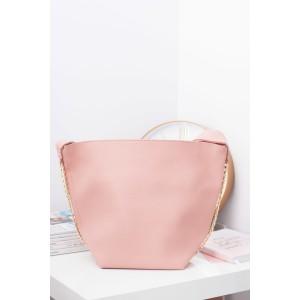 Jednoduchá ružová dámska shopper kabelka s náhradným nastaviteľným ramienkom