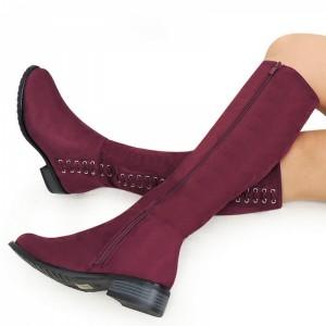 Elegantné dámske zimné čižmy pod kolená v bordovej farbe