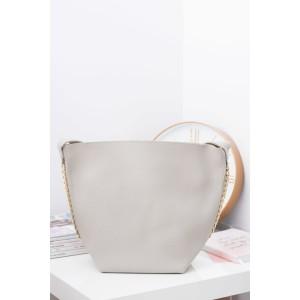 Moderné dámske shopper kabelky v sivej farbe so zlatou retiazkou