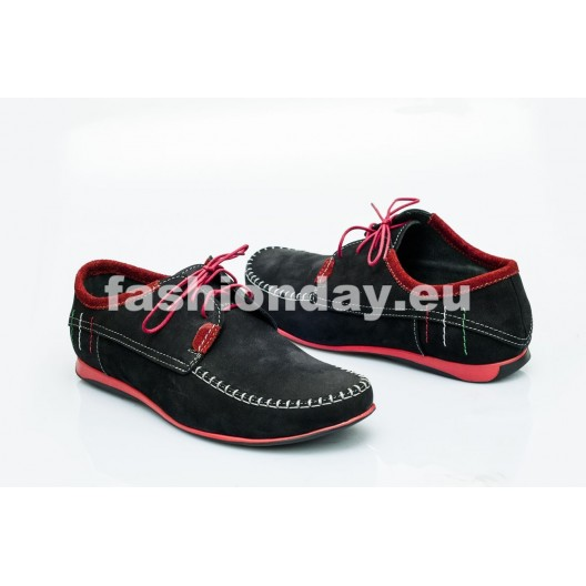 Pánske kožené topánky čierne PT1400B