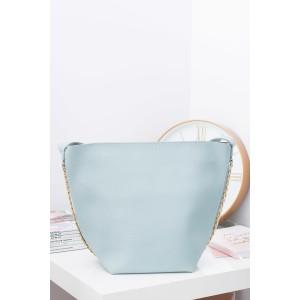 Priestranné svetlo modré dámske shopper kabelky s malou taštičkou vnútri