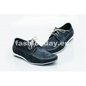 Pánske kožené topánky modré PT1400D