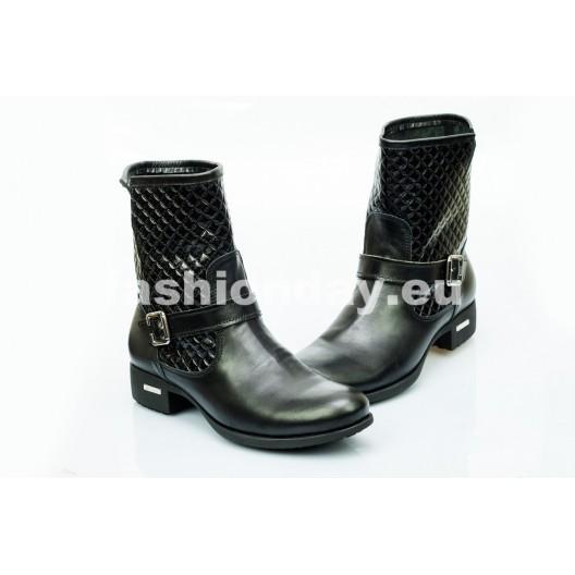 Dámske kožené topánky čierne DT476